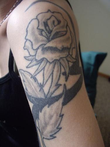Black Rose Upper Arms Shoulder Tattoo Design For Women Flower