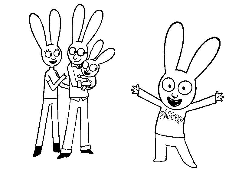 Dibujo Para Colorear Simon Conejo Simon Y Su Familia 1