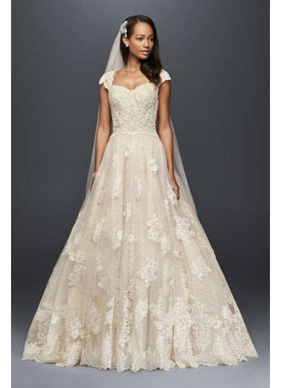 Cap Sleeve Wedding Ball Gown with Lace Appliques   David's