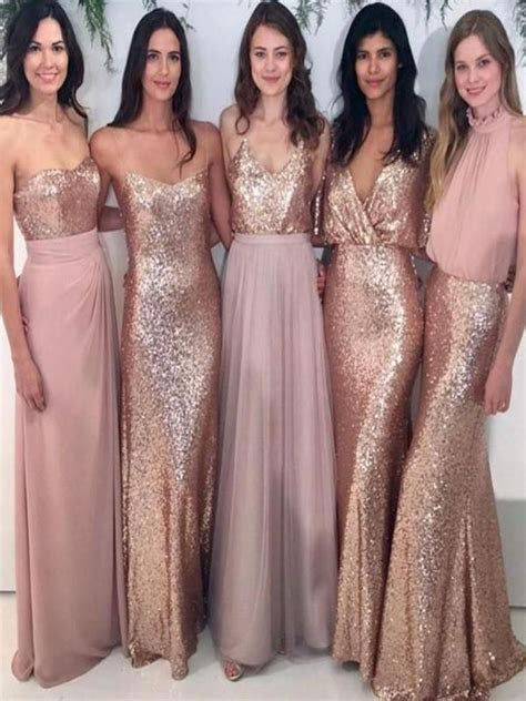 New Sparkly Mismatched Sequin Long Bridesmaid Dresses