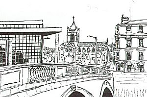 Ink Drawing of Christchurch Cathedral, Dublin