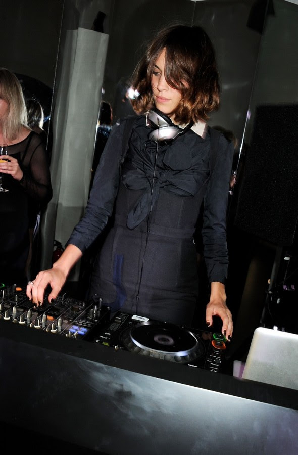 Alexa Chung performing a live DJ set at the Burberry Serpentine Summer Party