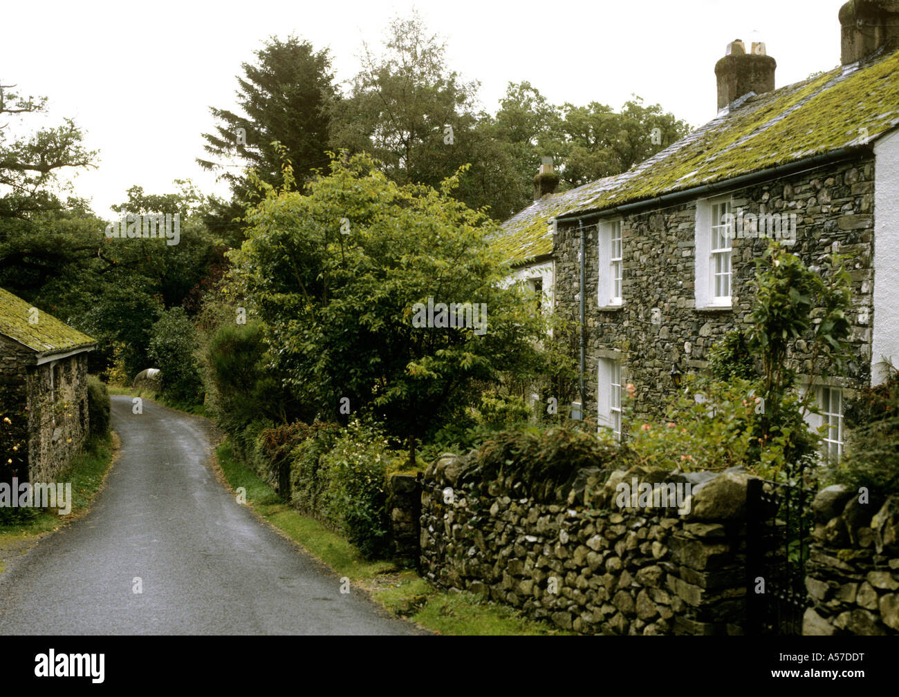 UK Cumbria Lake District roadside cottages in Stair village near ...