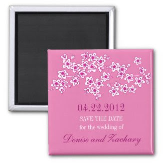 Cherry Blossoms Save the Date Magnet magnet