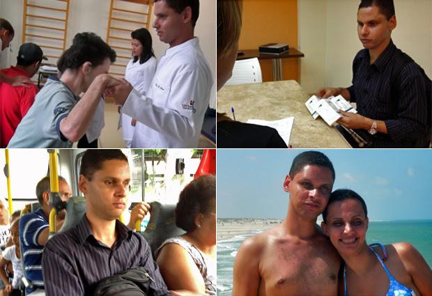 Edson de Souza durante estágio da faculdade de fisioterapia, retirando seus convites da formatura, dentro de um ônibus em São Paulo e em viagem com a esposa ao Ceará (Foto: Ana Carolina Moreno/G1/Arquivo pessoal)