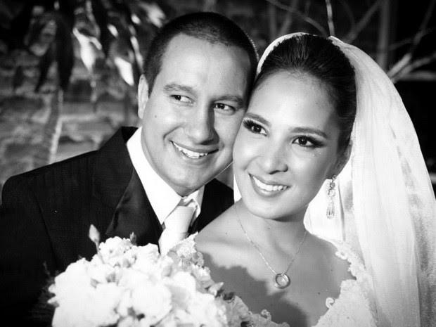 Carolina e o marido Jonas no dia do casamento em Piracicaba (Foto: Ivan Delabio/acervo pessoal)