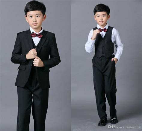 Cheap Boys Suits For Weddings Black Boy Suit Five Piece