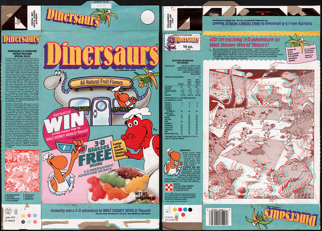 Ralston - Dinersaurs cereal box - 3-D adventure - 1988
