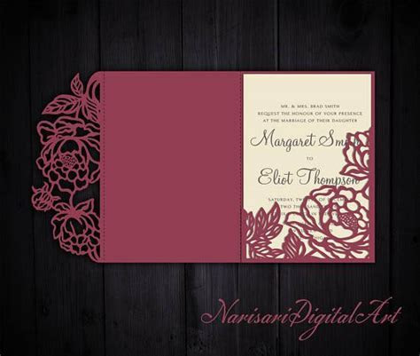 Tri Fold Peonies 5x7 Wedding Invitation Pocket Envelope SVG