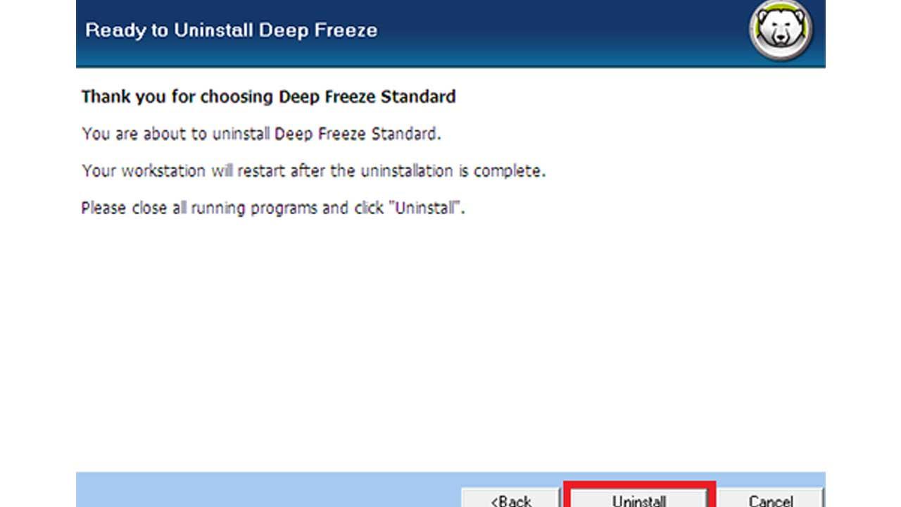 Deep Freeze programını kaldırma adımları 3