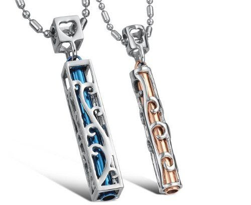 His & Hers Matching Set Titanium Couple Pendant Necklace Korean Love Style in a Gift Box (Hers): Jewelry
