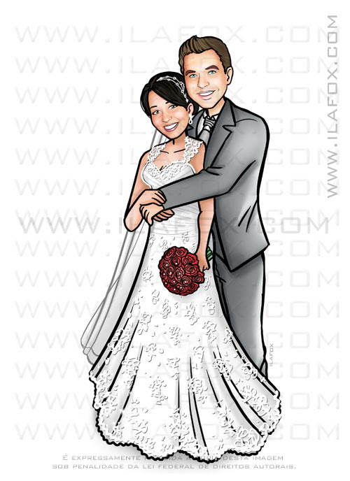caricatura sem exageros, caricatura bonita, caricatura para casamento, caricatura personalizada, caricatura noivos, caricatura casal, by ila fox