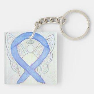 Periwinkle Ribbon Angel Custom Art Keychains