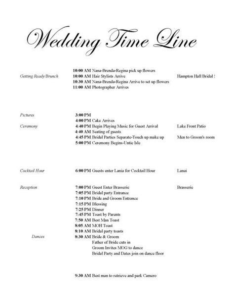 Wedding day timeline 3.30pm ceremony   Dream Wedding