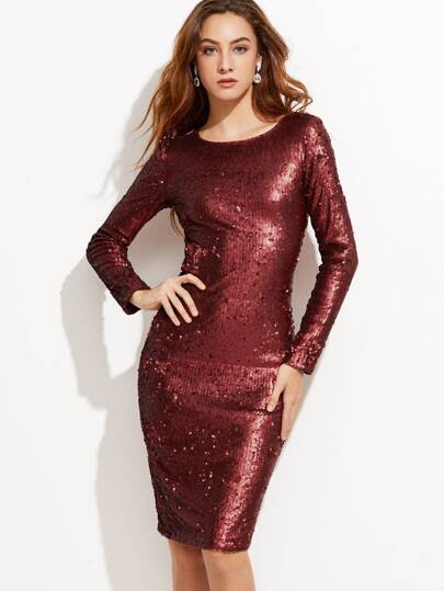 Burgundy Embroidered Sequin Pencil Dress