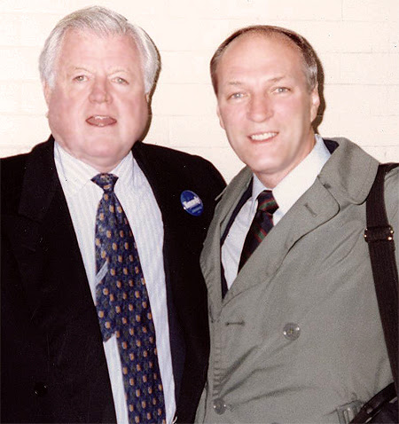 Year 2000: U.S. Senator Ted Kennedy and Cliff Arnesen, Bisexual President, New England GLBT Veterans, in Boston MA, during Sen. Kennedy's Reelection Campaign