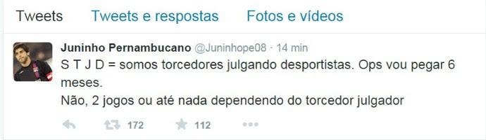Twitter Juninho critica STJD (Foto: Reprodução)