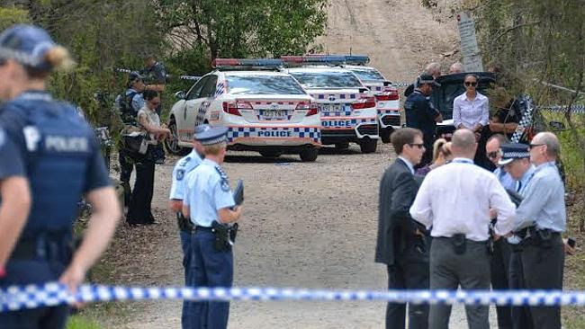 Police at the scene of a shooting at Rochedale. Picture: Michael Carne