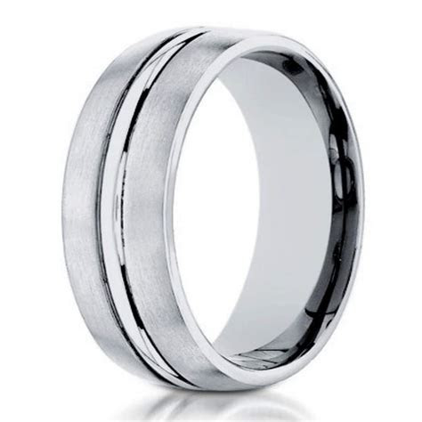 Men's Designer 4mm Engraved and Satin Finish 14k White