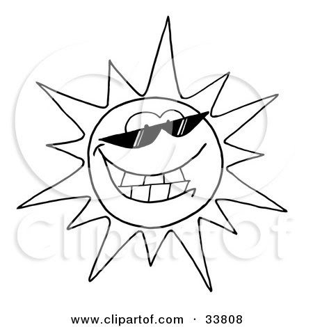 33808-Clipart-Illustration-Of-A-Black-And-White-Outline-Of-A-Cool-Sun-Character-Wearing-Shades-And-Smiling.jpg