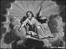 God on a cloud in a 18th century depiction