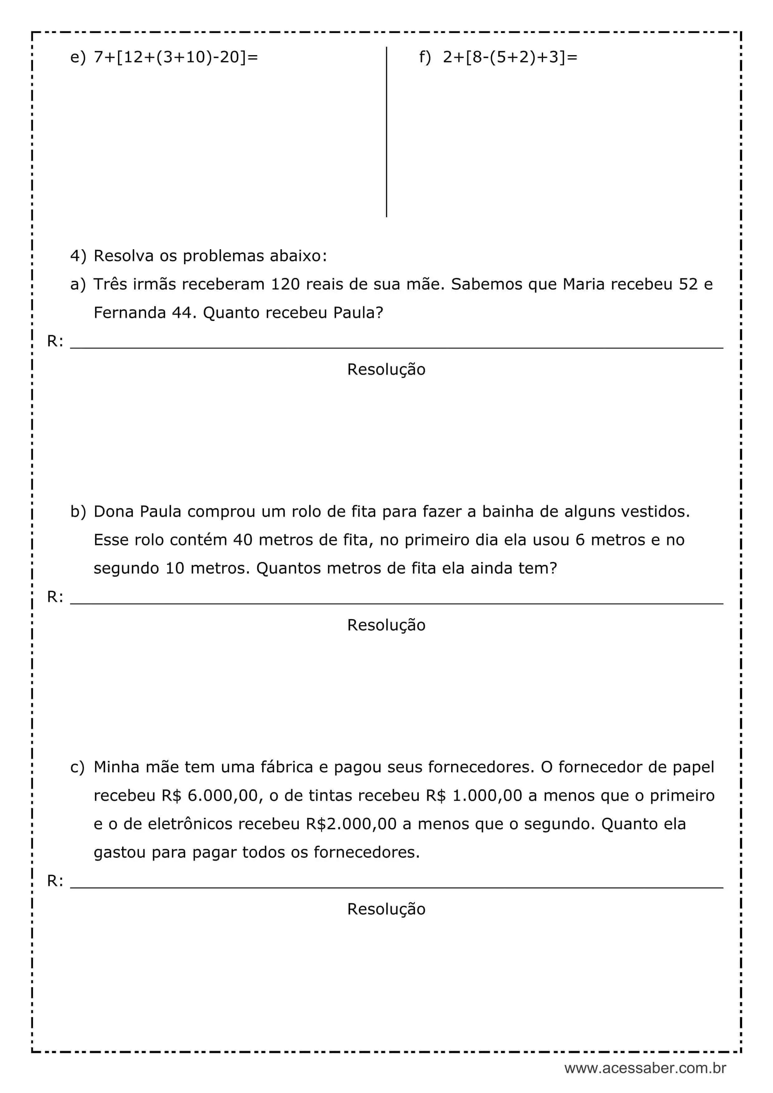 Atividade De Matematica Subtracao 5º Ou 6º Ano Acessaber