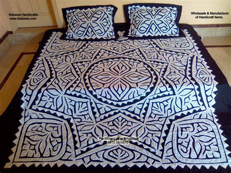 Find Bed Designs of Applique work Sindhi Traditional