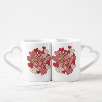 Lovers' Coffee Mug, Hearts and Roses Lovers Mug Sets