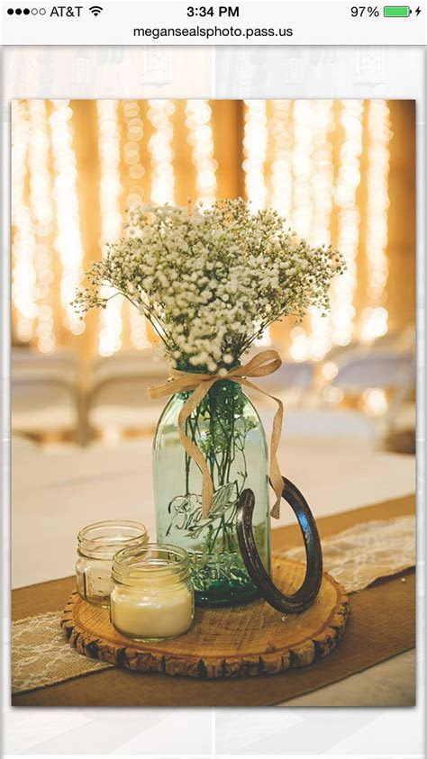 Some of my centerpieces at my wedding. Horse shoe was a