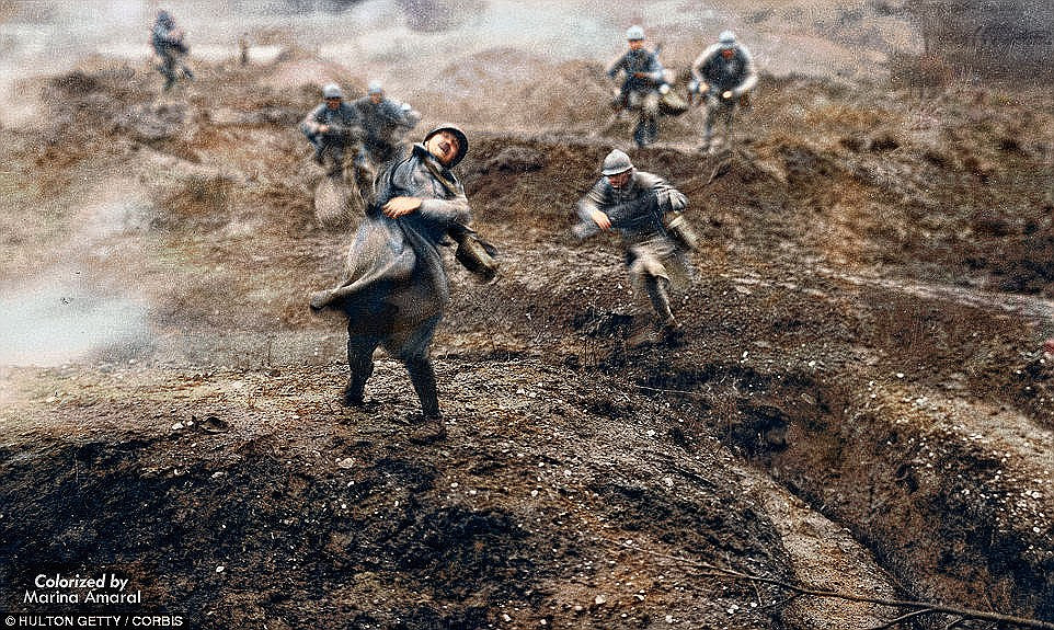 No Man's Land: This retouched picture - originally from a 1928 film - shows a French soldier falling after being shot one hundred years ago, on February 21, 1916, after the first shots were fired in the battle for the French fortress town of Verdun