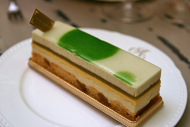 Forbidden Fruit - Green apple mousse, maple cremeux, vanilla caramel apple, green apple jelly, financier cake