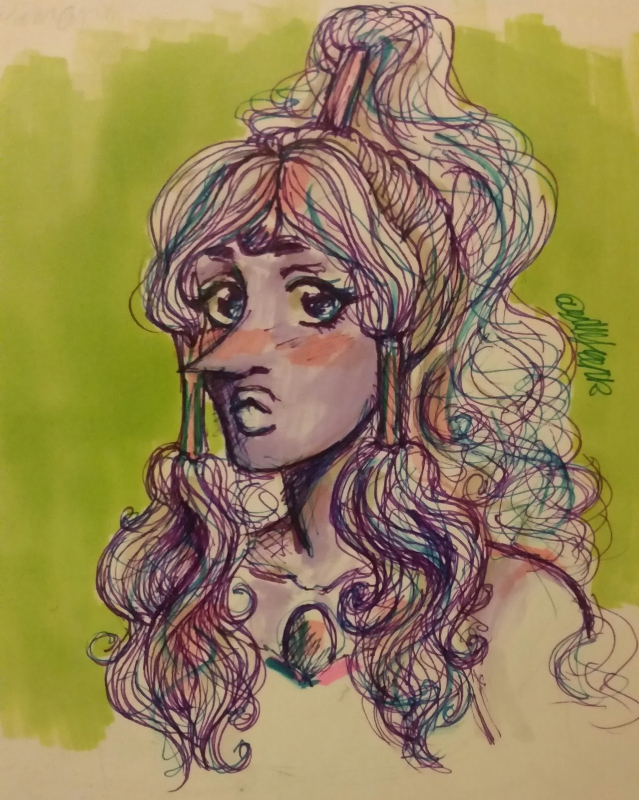 Traditional art??? That I did???? That hasn't happened in a while 😅 anyway have a scribble of Opal 🌈