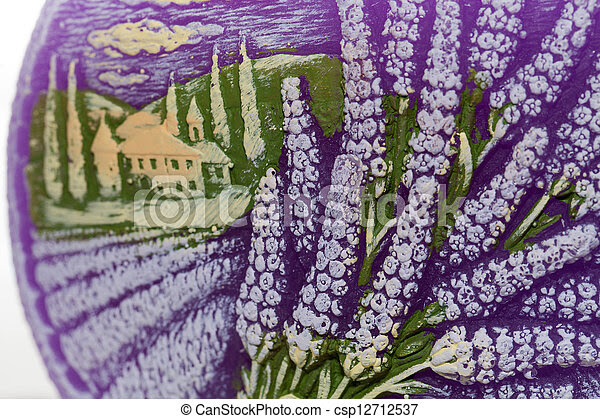 Stock Photos of Candle with lavender flowers Aromatherapy concept ...