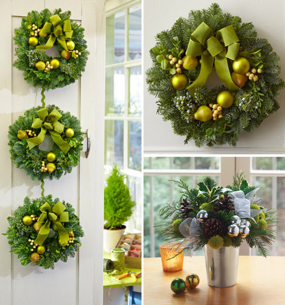 holiday wreaths and charming bouquet