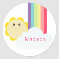 Cute Sun & Rainbow Cupcake Toppers/Stickers