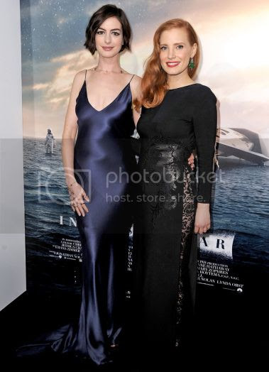 'Interstellar' Premiere: Anne Hathway and Jessica Chastian Red Carpet Looks photo anne-hathaway-jessica-chastain-interstellar-premiere.jpg