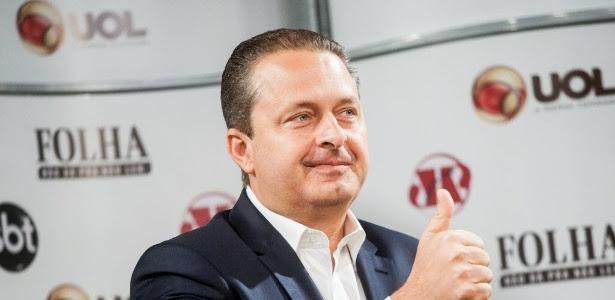 O candidato à Presidência Eduardo Campos é sabatinado por UOL, Folha, SBT e Jovem Pan