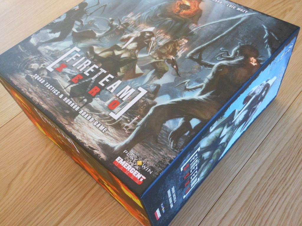 The Fireteam Zero board game box, showing the exciting cover artwork with a group of heroes surrounded by monsters.