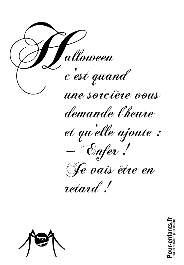Imprimer Halloween c'est quand texte amusant avec pensée