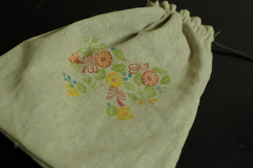 A drawstring bag with my hand carved stamps