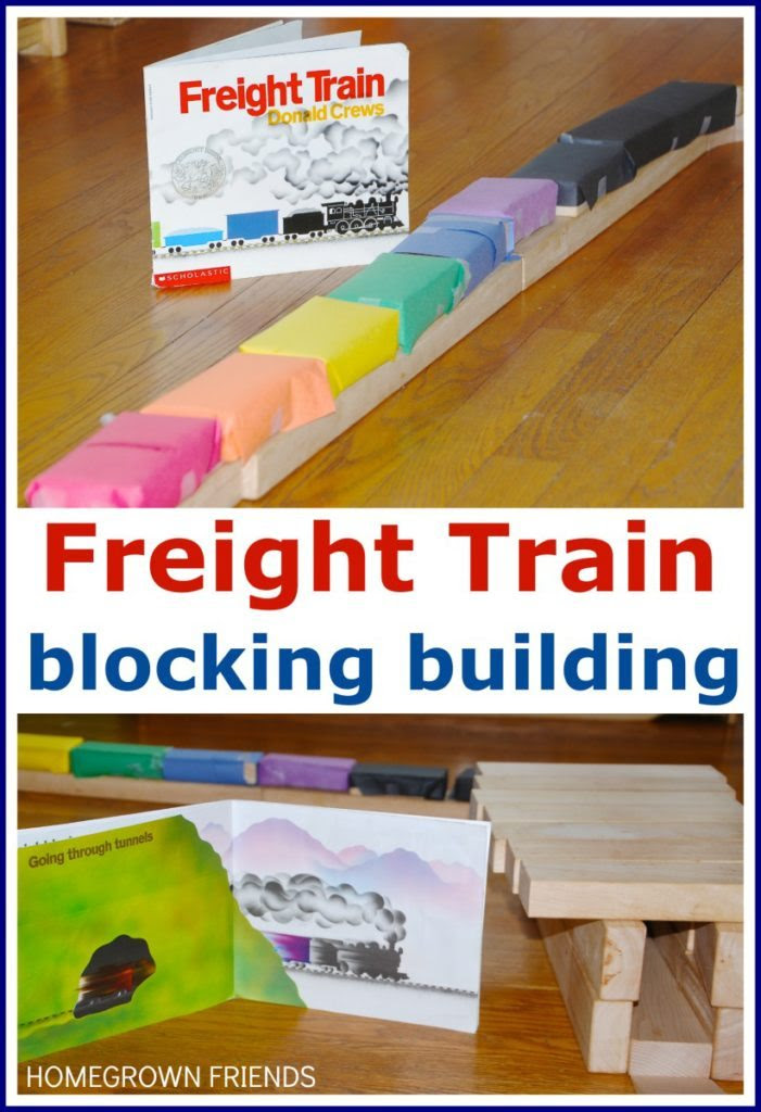 Freight Train Block Building - exploring books through play with Preschool Book Club