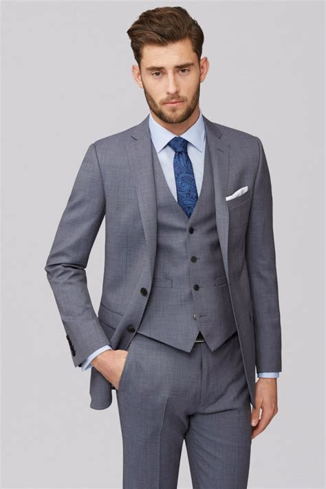 2018 New Blazer suit Mens Grey 3 Piece Wedding Suits Best