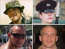 Pte Alex Isaac, L/Cpl David Ramsden, Colour Sgt Martyn Horton, Pte  Douglas Halliday