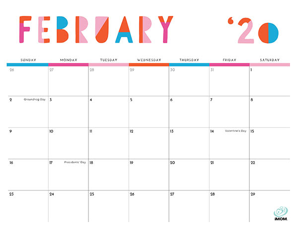 Imom Calendar 2022.Colorful 2020 Monthly Calendar Printable Free Premium Vector Download