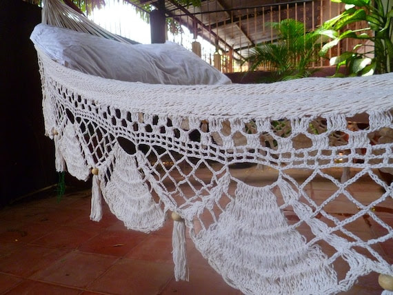 Beige Single Hammock hand-woven Natural Cotton Special Fringe
