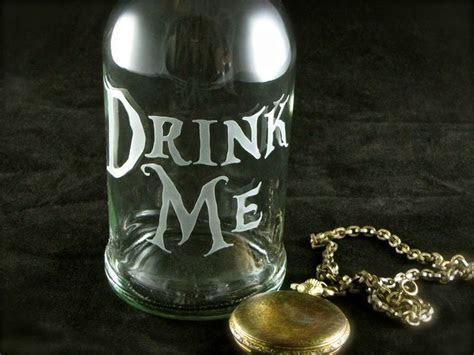 Drink Me Water Bottle, Etched Glass Reusable Beer Bottle