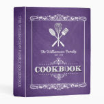 Vintage Purple Chalkboard Family Cookbook Mini Binder