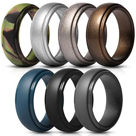 Saco Band Silicone Rings for Men   7 Pack Rubber Wedding