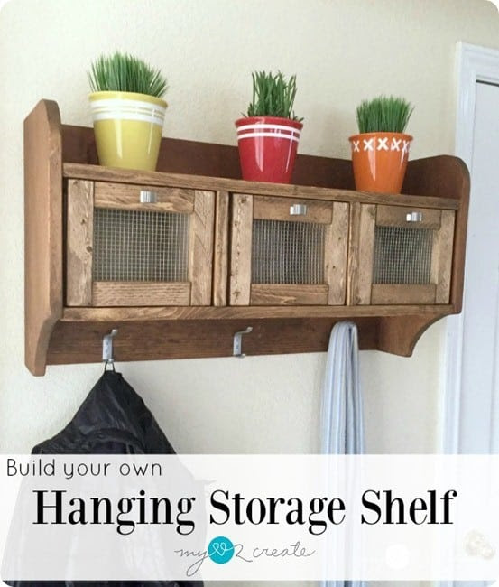 DIY Wood Projects ~ Get the free woodworking plans to build this Pottery Barn knock off entryway storage shelf for a fraction of the price!