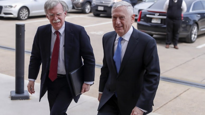 US Secretary of Defense Jim Mattis (R) greets National Security Advisor-designate John Bolton (L) as he arrives for a meeting at the Pentagon in Arlington,Virginia, USA 29 March 2018. Bolton is replacing Army general H.R. McMaster who resigned in a White House staff shake-up last week. EPA, SHAWN THEW